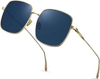 AVAWAY Fashion Oversized Sunglasses for Women Polarized UV Protection Lens Metal Frame