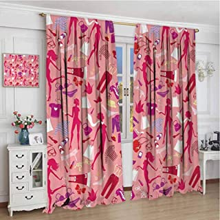 curtains for girls room W108xL108 Inch,rod pocket drapes Thermal Insulated Panels home décor,Heels and Dresses,Girl Silhouettes Glamor Clothes Purses Underwear Pattern in Pink Tones,Multicolor