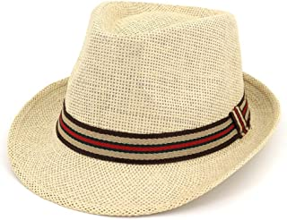 Hats Beach Fedora Hat with Stripe Band for Men and Women All Season Outdoor Sport Hat Fashion (Color : Beige, Size : Adjustable)