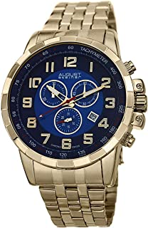 ساعة يد بمينا زرقاء وسوار ستانلس ستيل كورونوغراف للرجال من اوغست شتاينر - AS8118YG