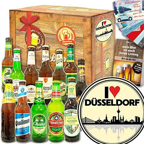 I love Düsseldorf - 12er Bierset Welt & DE - Geburtstagsüberraschung Düsseldorf