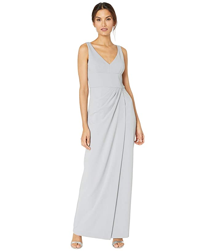 Adrianna Papell  Knit Crepe Dress (Bridal Silver) Womens Dress