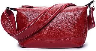 Fine Bag/Handbag Women's Leather Zipper Bag Casual Shoulder Bag Fashion Messenger Bag Portable (Color : Red, Size : One Size)