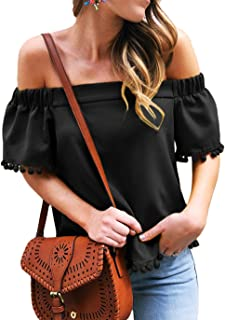 Shawhuwa Womens Vertical Stripes Off Shoulder Tie Knot Casual Chiffon Blouse Tops