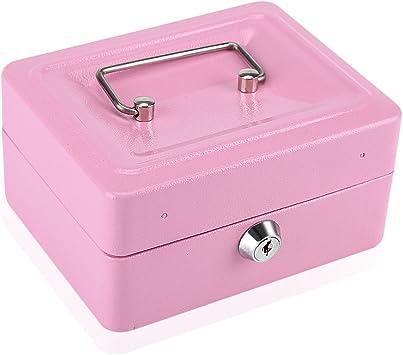 Caja Fuerte Portátil con Cerradura de llave Caja de Seguridad de Metal de Doble Capa Cajas de Caudales de Almacenamiento de Monedas (Pink): Amazon.es: Bricolaje y herramientas