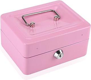 VIFER 1 Pc Mini Boîte De Sécurité Portable Argent en Acier Argent Petit Petit Ménage Coffre-Fort Verrouillable(Rose)