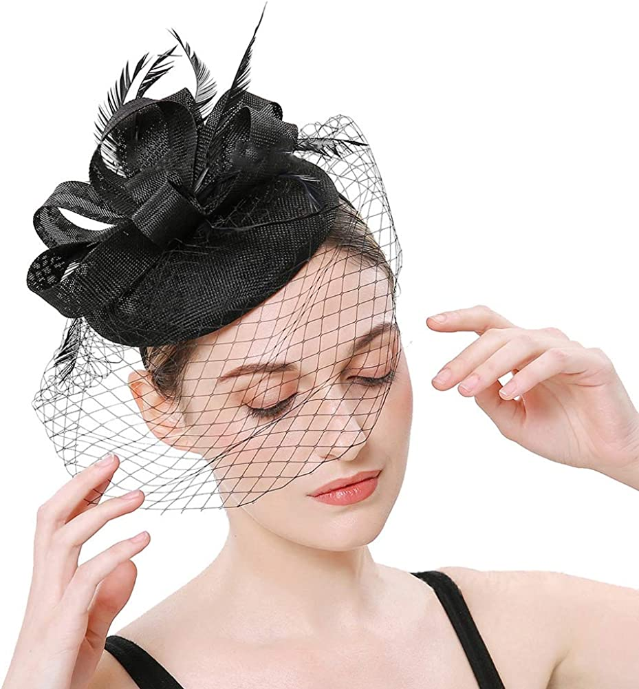 Itopfox Women's NEW before selling Feather Fascinators Hat Pin - New products, world's highest quality popular! Head Cocktail Hair