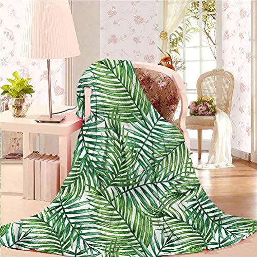 "alisoso 70"" W x 94"" L Leaf Fleece Blanket Lightweight and Washable Botanical Wild Palm Trees"