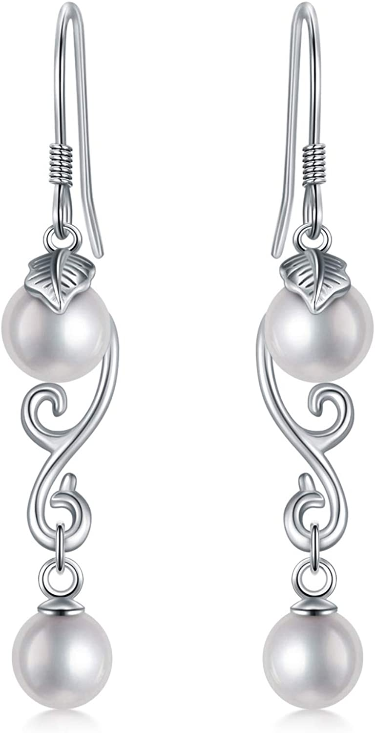 Synthetic Pearl Dangle Outlet ☆ Free Shipping Earring White Silver 925 Sterling Free Shipping Cheap Bargain Gift