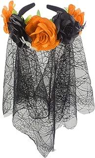 Women Flower Headband Wreath Adjustable Elastic Band with Lace Spider Web Veil Halloween Floral Garland Crown Wedding Headpiece Festivals Photo Props for Girls Ladies