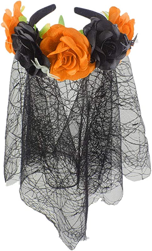 Women Flower Headband Wreath Adjustable Elastic Band With Lace Spider Web Veil Halloween Floral Garland Crown Wedding Headpiece Festivals Photo Props For Girls Ladies