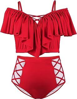 Kisscy Women's Plus Size Off The Shoulder Ruffles High Waist Bikini Sets