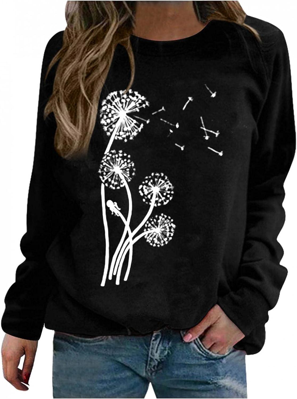 FABIURT Long Sleeve Shirts for Women Trendy Crewneck Giraffe Print Pullover Top Loose Cute Graphic Tunic Sweaters Shirts