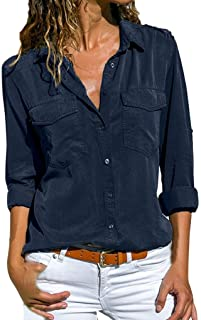 40ad352b0 Women Shirt TUDUZ Ladies Casual V Neck Roll Long Sleeve Solid Color Button  Down Shirt Blouse