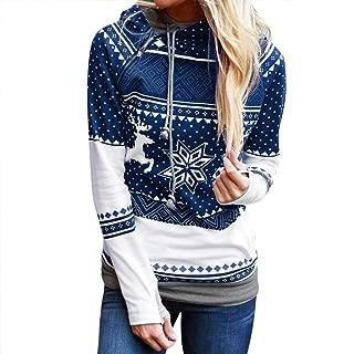 Sunhusing Ladies Christmas Polka Dot Bohemian Print Zip Hooded Long Sleeve Sweater Top