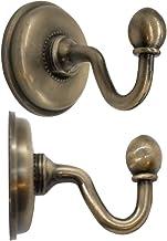 FUXXER® - 2x antieke messing handdoekhaken, wandhaken, klassiek design brons ijzer messing, 48 x 59 mm, set van 2