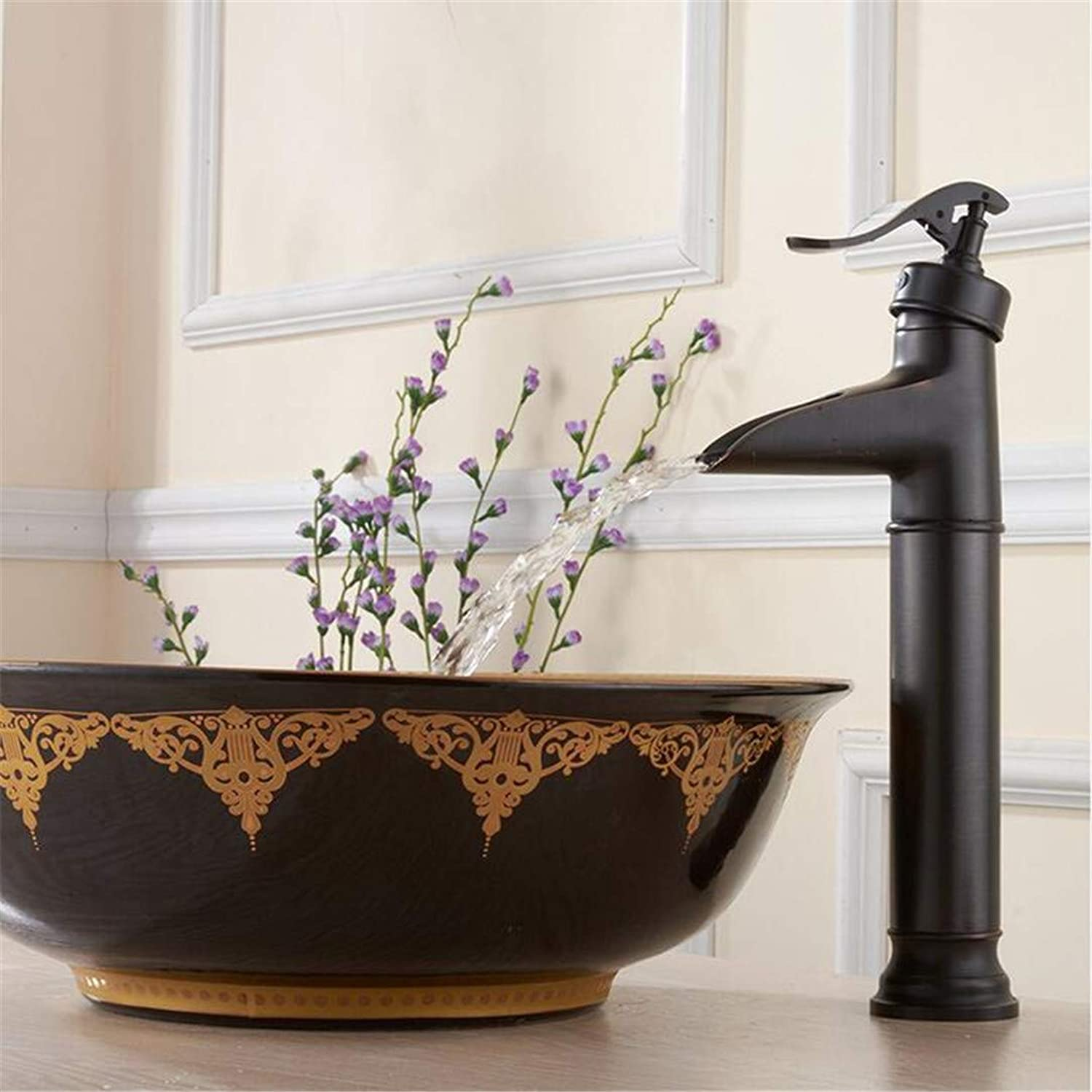 Faucets Basin Mixer Oil Rubbed Black Basin Faucet Brass Vessel Sink Faucet Hot and Cold Mixer Tap Bathroom Waterfall Faucet