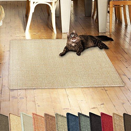 casa pura Sisalteppich Natural Line | ideal als Kratzmatte für Katzen | schadstofffrei & widerstandsfähig | Sisal Kratzteppich in vielen Farben und Größen (Ivory/Creme, 60x80 cm)