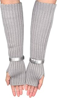 TDwear Women's Fashion Design Long Stretchy Thumb Hole Gloves Mittens Arm Warmers Winter Sleeves, Gray