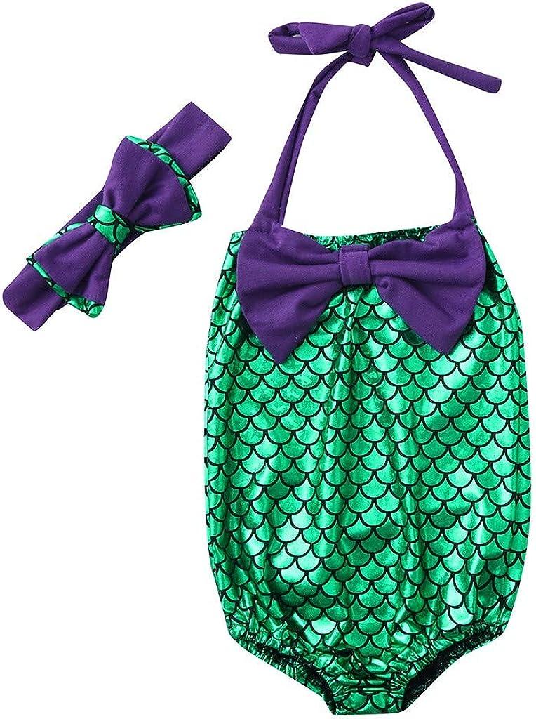 Children Toddler Kids Baby Girls Summer Bikini Beach Bowknot Mermaid Swimsuit+Bow Headbands Swimwear Set
