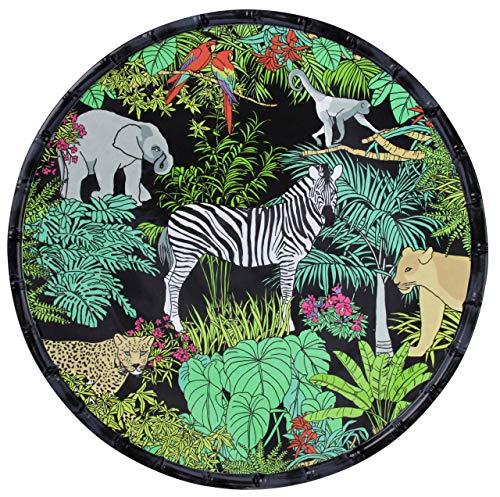 Les Jardins de la Comtesse - Plat de Service Rond Noir/Vert en Mélamine - Plat de Présentation du Service de Table Jungle - Collection Vaisselle MelARTmine - Ø 35,5 cm