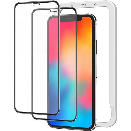 アンチグレア Nimaso 全面保護 強化 ガラスフィルム iPhone 11Pro / Xs/X 用 サラサラタッチ感/反射低減/ガイド枠付き フルカバー 2枚セット NSP19L48
