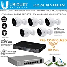 Ubiquiti UniFi G3 Video Camera UVC-G3-PRO-5 1080p 3X Optical Zoom Pre-Configured with Unifi Video Recorder UVC-NVR-2TB and Unifi Switch 8-Port US-8-150W Managed PoE+ - Ready to Install -