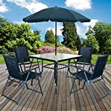 Marko Outdoor Malaga 6PC <span class='highlight'>Garden</span> Patio <span class='highlight'>Furniture</span> <span class='highlight'>Set</span> Outdoor Black 4 <span class='highlight'>Seater</span> Large Square Table Parasol
