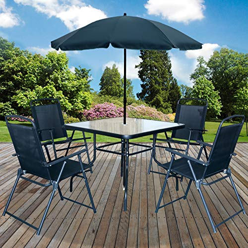 Marko Outdoor Malaga 6PC Garden Patio Furniture Set Outdoor Black 4 Seater Large Square Table Parasol
