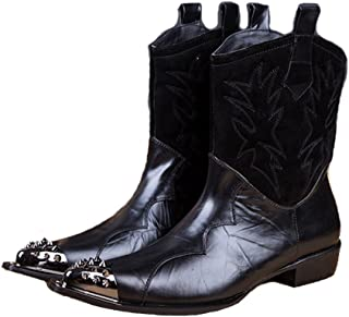 Cover Plus Size 5-12 Black Genuine Leather Slip On Cowboy Tall Boots Steel Pointed Toe Mens Dress Shoes
