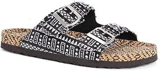 MUK LUKS Women's Juliette Terra Turf-DRK Grey Sandal