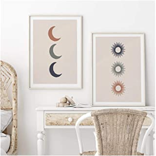 Cjyrjcc Boho Poster Abstract Triple Sun And Moon Canvas Painting Nordic Wall Art Print For Bed Room Home Decor Wall Pictur...