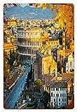 MIFSOIAVV Vendimia Cartel de Chapa metálica Ver el Coliseo en Roma,Italia Placa Póster,Decoraciones de de Pared de Hierro Retro para Café Bar Pub Casa 20x30cm