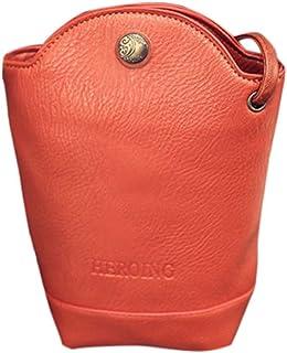 Dubocu Women's Fashion Handbag, Vintage Purse Bag Leather Cross Body Shoulder Messenger Bag Orange