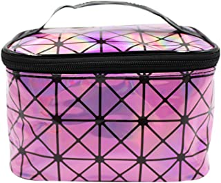 Holographic Cosmetic Bag Shiny Makeup Organizer Tote Toiletry Carrying Case for Home Travel Storage