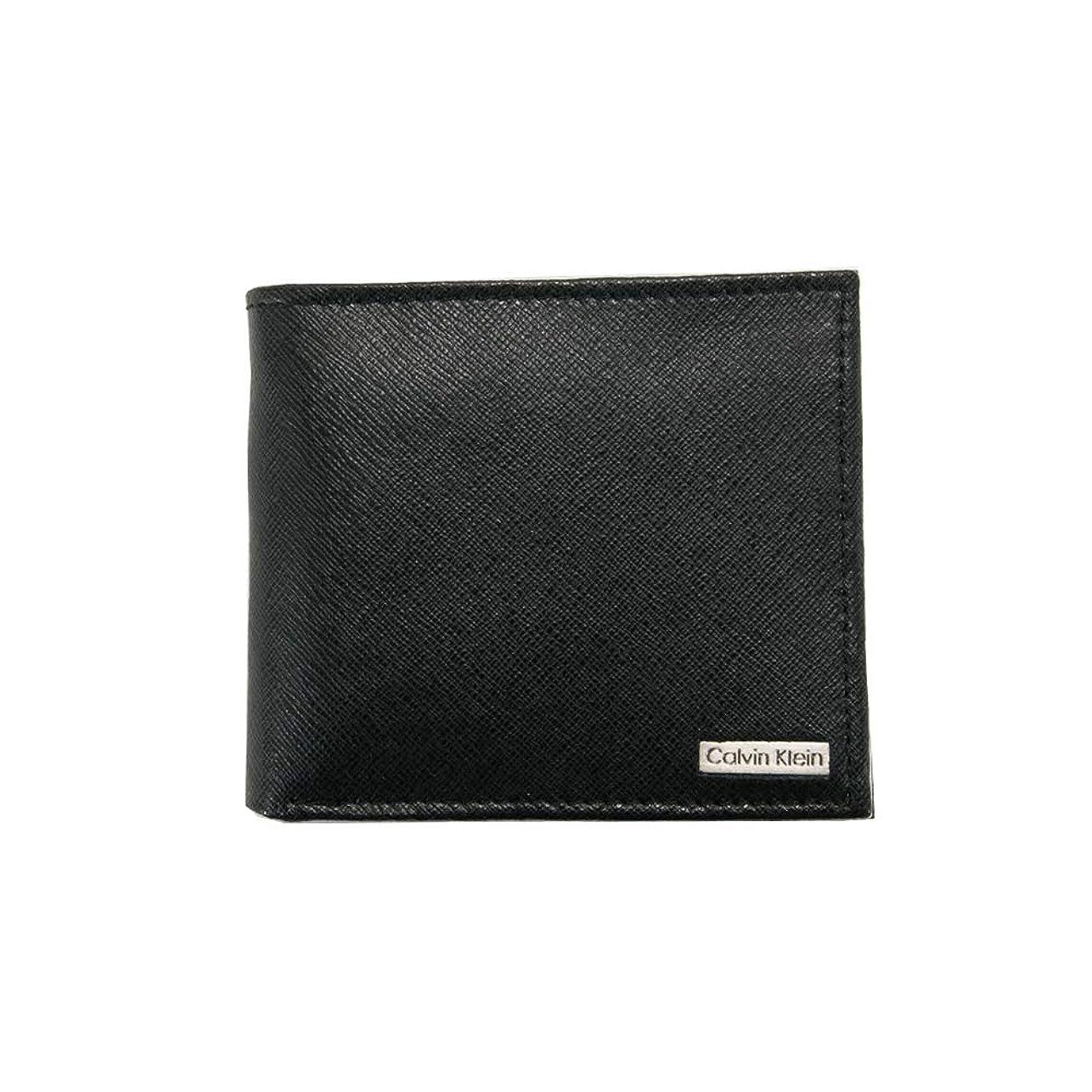 高音免疫母音カルバンクライン Calvin Klein CK 財布 二つ折り財布 メンズ レザー ロゴプレート ブラック(黒) 79393