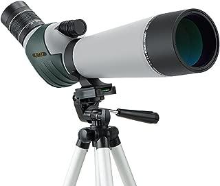 ELLTOE 20-60x80mm Porro Prism Spotting Scope with Tripod, 45-Degree Angled Big Eyepiece,Waterproof Fogproof Spotter Scope for Target Shooting Bird Watching Archery Wildlife Scenery