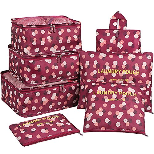 Travel Cubes,Mossio 7 Piece Compact Carry On Luggage Organizer Value Folders Travel Bag Wine Flower