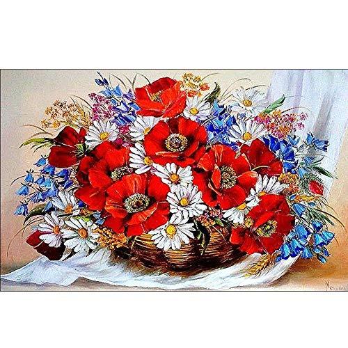 Diamant-schilderij 5D knutselen, vierkant, bloem, mand, 45 x 30 cm, borduurwerk, strass, kruissteek, mozaïekset