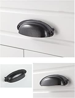 Shell Cup Handles Black Iron Half Moon Vintage Cupboard Door Drawer Cabinet Cupped Handles Pulls Knobs Furniture Hardware Cupboard Antique Brass Shell Pulls with Screws, 10 Sets