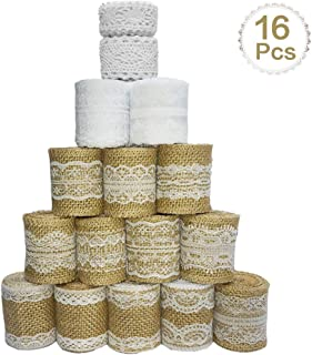 Sparta's Store 16 Rollo de cinta de arpillera de Encaje.Incluye, 12 x rollo de cinta de encaje de arpillera natural, 2 x adornos de encaje, 2 x cinta de yema!