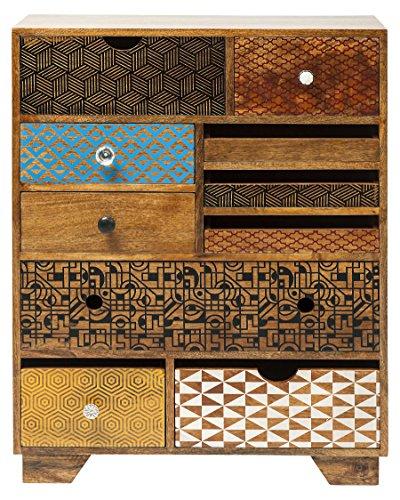 Kommode Soleil 10 Schübe, modernes TV Sideboard mit bunten Retro Lackierungen, braun (H/B/T) 90x70x30cm