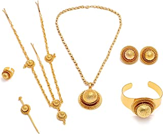 24K Gold Plated New Female Women Ethiopian Wedding Party Complete Hair Jewelry Sets