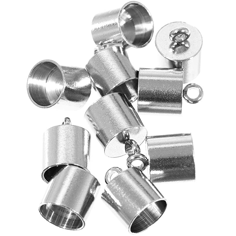 Craft County 10 Pieces 12mmX7mm and 13mmX8mm, Stainless Steel Silver Smooth Cord End Caps Finding DIY Supplies