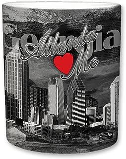 Sweet Gisele   City of Atlanta Mug   Ceramic Coffee Cup   Downtown Skyline   Atlanta Loves Me Phrase   Georgia Print Fade   Vintage Black & White Detailing   Great Novelty Gift   11 Fl. Oz