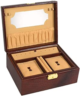 Stones Bridge Designer Fashionable and Luxurious Double Tray Leather Jewellery Box. Jewellery Storage Box for Women (Brow...