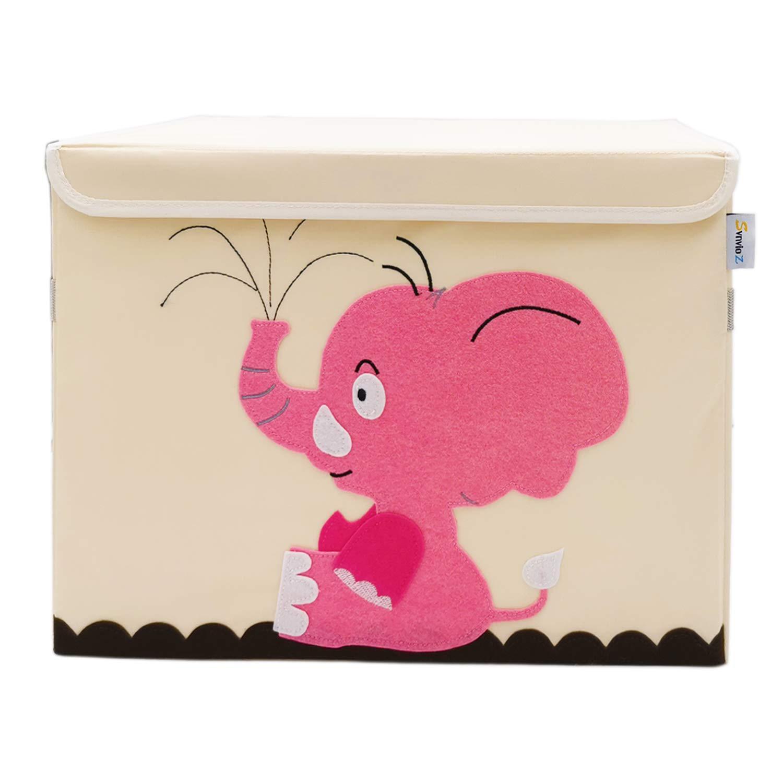 Foldable Canvas Storage Toy Box//Bin//Cube//Chest//Basket//Organizer for Nursery Toddler Baby Kid Child SVNVIOZ Large Toy Storage Chest Cute Animal Storage Bin with Flip-top Lid Elephant