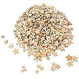 200 Pièces Étoiles en Bois Embellissements Étoile en Bois Mini Embellissements Étoiles pour Mariage Artisanat Faire du Bricolage, 4 Tailles Mélangées
