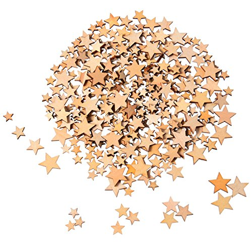 200 Stücke Holzsterne Blank Holz Stern Scheiben Mini Stern Verschönerungen für Hochzeit Handwerk Making DIY, Gemischt 4 Größen