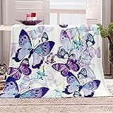 Manta de sofá 3D Insecto Mariposa Morada Manta de Franela de Felpa Muy cálida y Suave Impresión 3D Adecuada para sofá y Cama Viaje 100x130 cm
